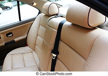 Rear cream leather vehicle seats - A photo of Rear cream...