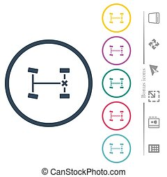 Rear differential lock flat color icons in round outlines. 6 bonus icons included.