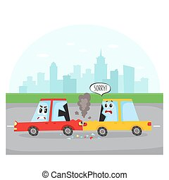 Rear end collision - car characters on city street