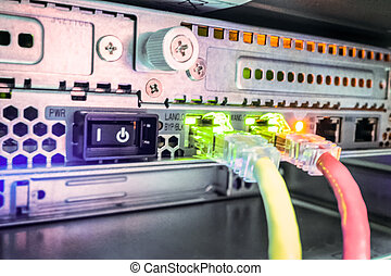 Rear of a Server - Back of a computer server with two...