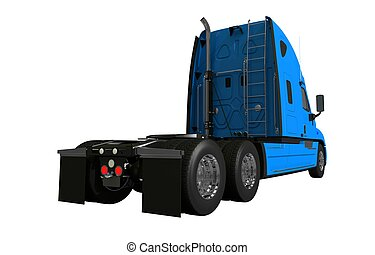 Rear of Semi Truck Isolated Illustration on White...