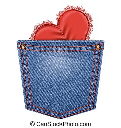 Rear pocket with lace heart - Rear blue denim pocket with...