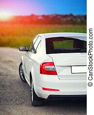 rear-side, 光景, の, a, 自動車