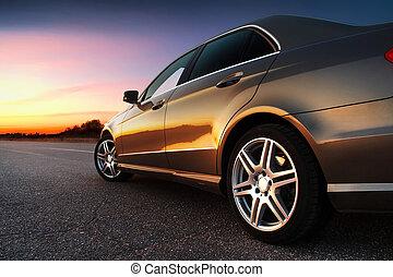 rear-side, 察看, 在中, 汽车