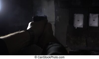 rear side angle of shooting in a range