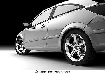 rear-side, kilátás, közül, egy, autó