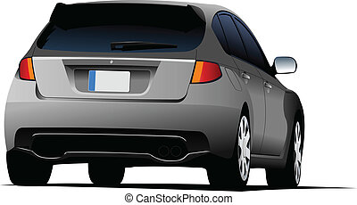 Rear side of gray car sedan on the road. Vector illustration