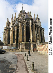 Rear side of the famous Amiens Cathedral in Amiens, France.