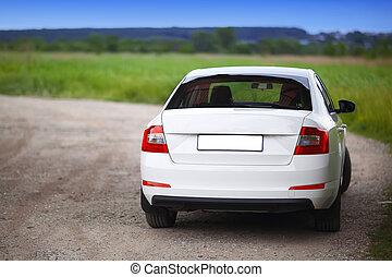 rear-side, synhåll, av, a, bil