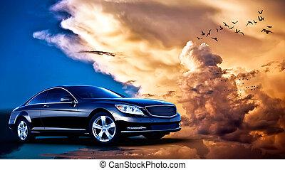 rear-side, vista, de, un, automóvil de lujo, en, ocaso