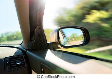 rear-view αντανακλώ , από , αυτοκίνητο