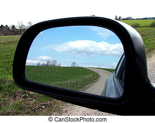 Rear view 1 - Rear view on a car mirror, road to hill, more...