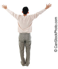 Rear view Asian man arms outstretched
