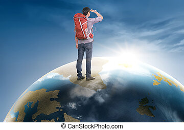 Rear view asian traveler man with backpack standing on earth planet