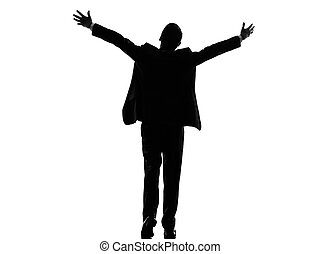 rear view back business arms outstretched man silhouette