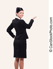 business woman hand pointing on blank space.