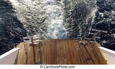 Rear view from motor yacht - Traces of motor yacht on the...