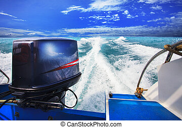 rear view from speed boats running against clear sea blue water beautiful blue sky outdoor location use for traveling and nature destination theme
