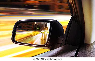 rear-view, i, gribende, automobilen, nat hos