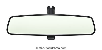 Rear View Mirror - Car Mirror with Copy Space Isolated on...