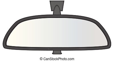 A chunky car rear view mirror isolated on a white background