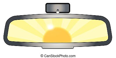Depiction of a vehicle rear view mirror with the sun glare