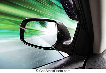 rear-view mirror of speed car