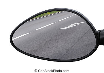 Rear view mirror reflecting road, left side lateral, macro ...