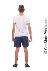 rear view .modern young man in sportswear