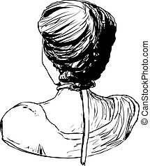 Rear view of 1700s style female hair