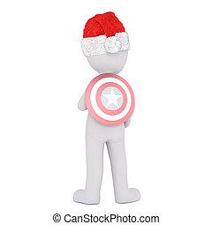 f82318c14e9b0 3d toon in santa hat with superhero shield. Full body 3d... stock ...
