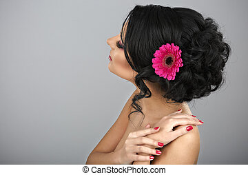 Rear view of a beautiful coiffure