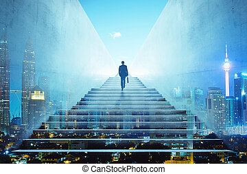 Rear view of a businessman climbing stairs to get to a large city center. Concept of success and appreciation. Double exposure