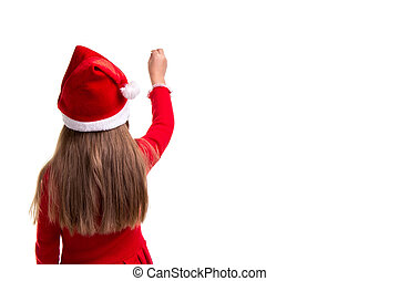 Rear view of a christmas girl with a raised hand up ready to write on the white isolated background