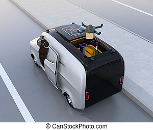 Rear view of a drone taking off from van for delivering cardboard parcel. 3D rendering image.