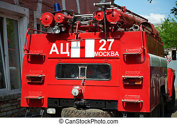 Rear view of a fire truck
