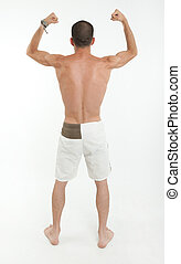 Rear view of a man showing his biceps