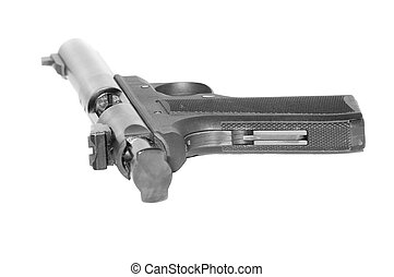 rear view of a semi-automatic pistol - semi-automatic...