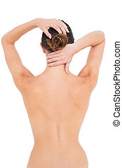 Rear view of a topless woman suffer - Rear view of a topless...