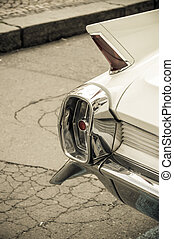 Rear view of a vintage car