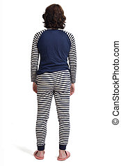 rear view of a woman in pajamas on white background,