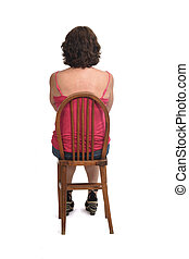 rear view of a woman sitting on a chair