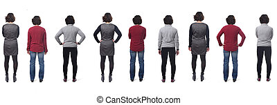 rear view of a woman with different types of clothes on white background