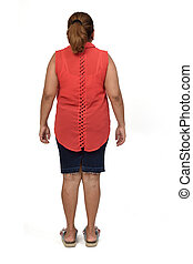rear view of a woman with skirt on white background,