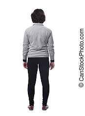 rear view of a woman with sportswear on white background