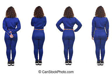 rear view of a woman with various poses in white background