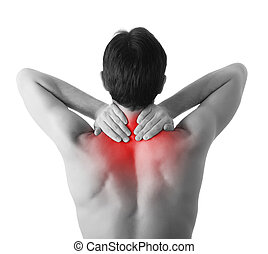 Rear view of a young man holding her neck in pain, isolated on white background, monochrome photo with red as a symbol for the hardening