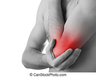 Rear view of a young man holding his elbow in pain, isolated on white background, monochrome photo with red as a symbol for the hardening