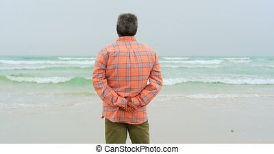 Rear view of active senior African American man with hand behind back standing on the beach 4k