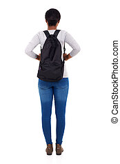 rear view of african female college student isolated on ...
